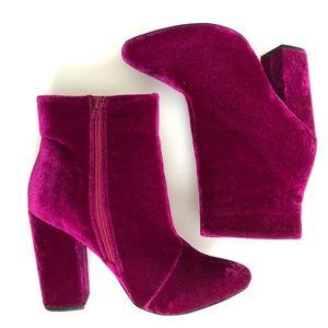 Shoe Dazzle Pink Velvet Bootie